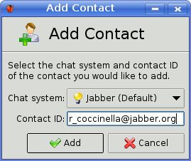 Add Contact dialog of Coccinella