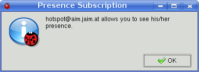 Notification of presence subscription of AIM contact