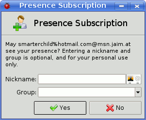 Subscription request from MSN contact