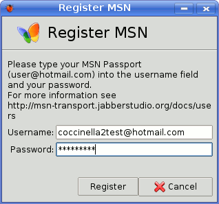 Register MSN account to transport