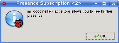 Notification window of single presence subscription