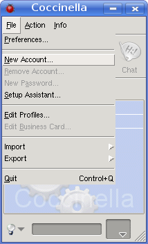 File menu with New Account option