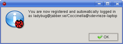 The registration confirmation dialog says your account is registered